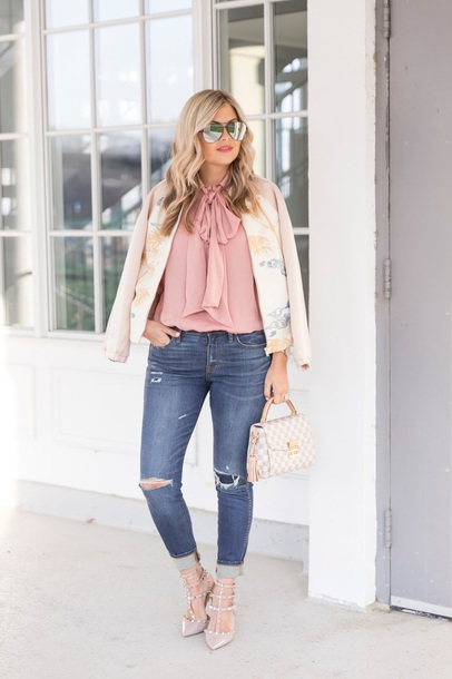 suburban faux-pas blogger blouse jeans shoes sunglasses jewels bag