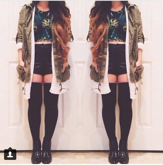 print hipster top weed print flannel knee high socks socks jacket
