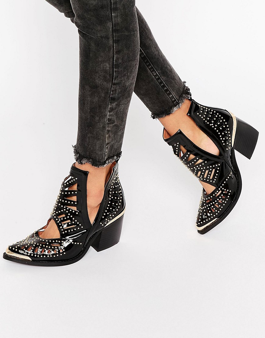 Jeffrey Campbell Nightwing Black Patent Crystal Stud Western Cowboy Ankle Bootie