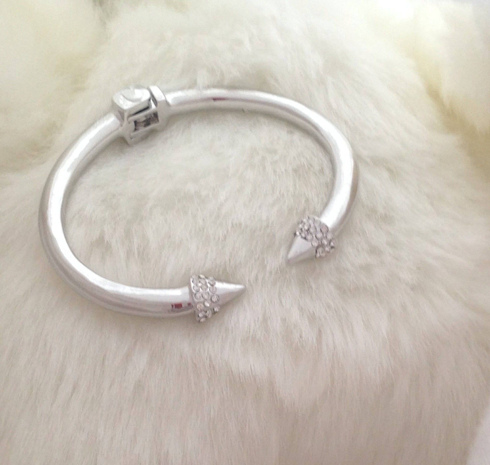 Silver rhinestone arrow cuff by mir