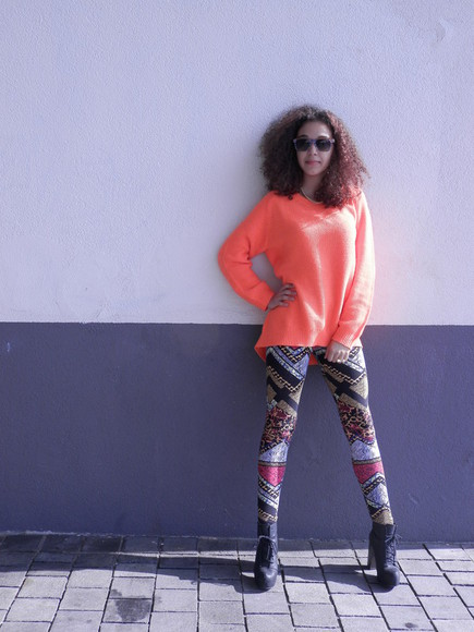 blouse black leggings high heels colorful orange sweater oversized sweater pattern block heels patterned leggings sunglasses top