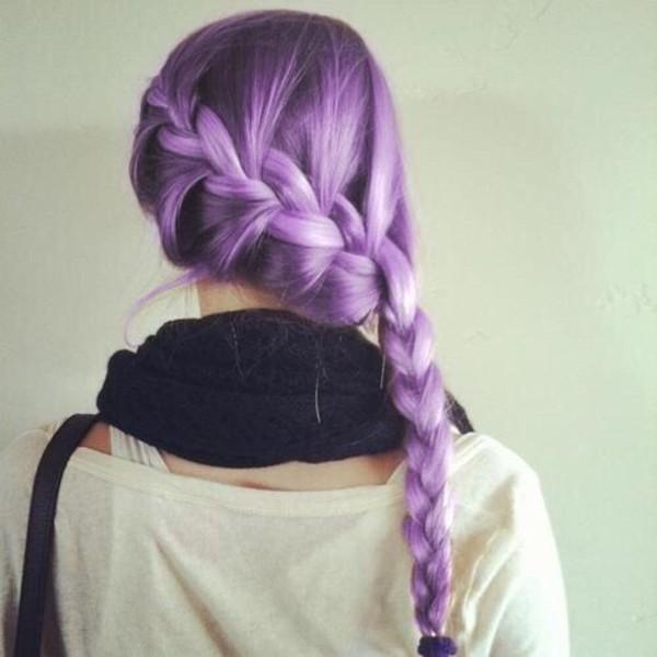 hair accessory hairstyles braid purple pastel hair t-shirt