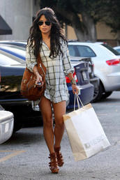 shoes,gladiators,sandals,heels,wedges,strappy heels,shirt,vanessa hudgens,plaid shirt,plaid,celebrity,sunglasses,bag,girl,tumblr,dress
