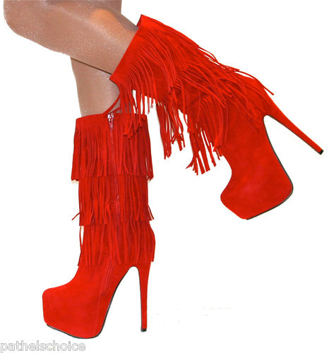 LADIES RED SUEDE FRINGED CALF HIGH BOOT CONCEALED PLATFORM STILETTO HEEL SHOE | Amazing Shoes UK