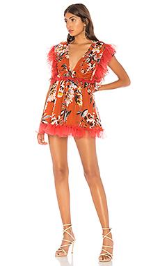 Tularosa Amelia Dress in Orange Dahlia Floral from Revolve.com