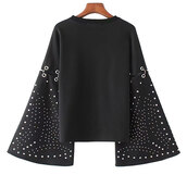 sweater,top,beaded,flared sleeve,long sleeves,brenda-shop,sweatshirt,knit,knitted sweater,knitted top,knitted crop top,black,studded