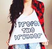 top,tank top,crop tops,graphic tee,band t-shirt,quote on it,5sos tees,fashion,plaid,drum