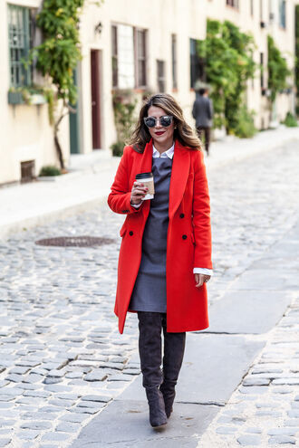 the corporate catwalk blogger sunglasses red coat office outfits grey dress