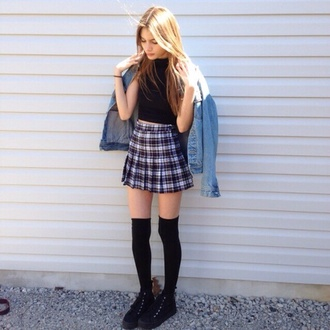 skirt denim jacket rock indie tumblr 90s style grunge top black socks fashion jeans tartan skirt kilt tartan pleated skirt high waisted skirt greay
