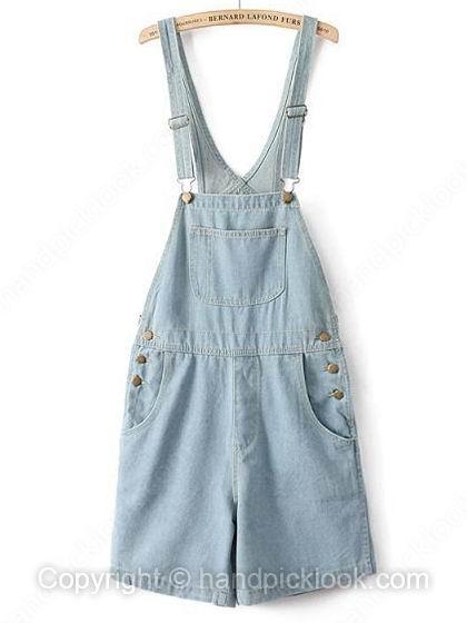 Light Blue Straps Sleeveless Pockets Denim Jumpsuit - HandpickLook.com