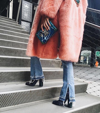 jeans faux fur kick flare jeans winter pink fur jacket ripped jeans