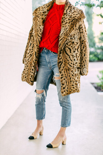 luella & june blogger jeans shoes bag scarf red sweater animal print winter outfits chanel slingbacks
