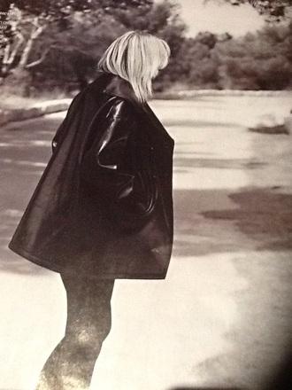 coat leather jacket black caban oversize alaïa