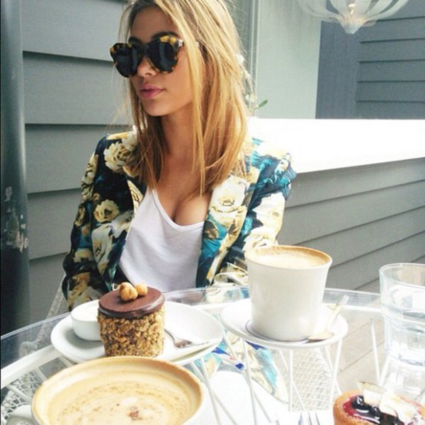 jacket blazer floral sunglasses