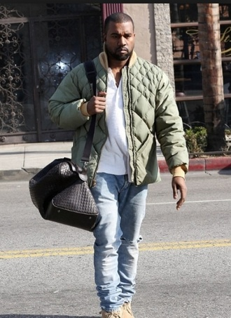 kanye west army green jacket quilted urban menswear jacket bag quilted bag