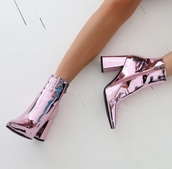 shoes,pink,chrome,pink chrome,metallic,metallic shoes,streetstyle,statement,city outfits,party