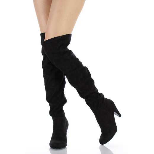 Over The Knee Suede Heel Boots - Cr Boot