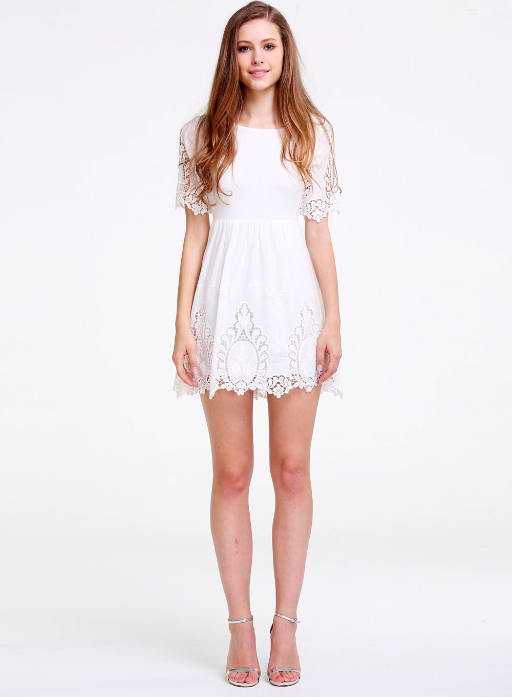 White Half Sleeve Crochet Detail Trims Dress - Sheinside.com