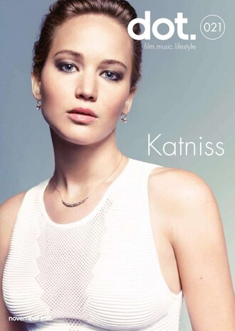 top white top white the hunger games jennifer lawrence katniss everdeen editorial