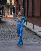 jumpsuit,satin,stripes,v neck,wide-leg pants,pumps,mid heel pumps,earrings