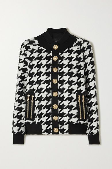 Balmain - Button-embellished Houndstooth Wool-blend Bomber Jacket - Black - Button-embellished Houndstooth Wool-blend Bomber Jacket