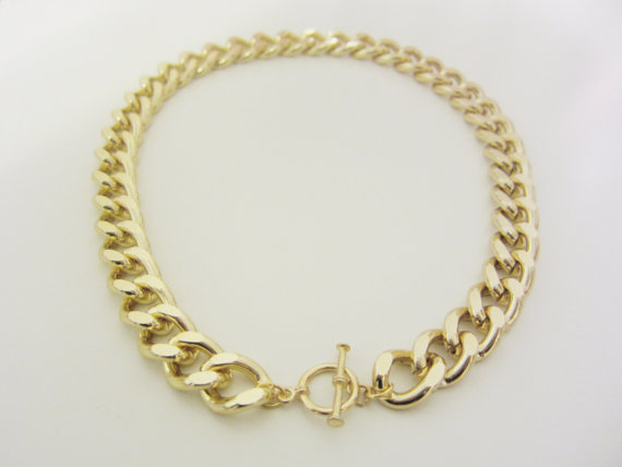 Original Gold Chain Necklace with Toggle Clasp by YuniKelley