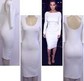 dress,kim kardashian,white bodycon,midi dress