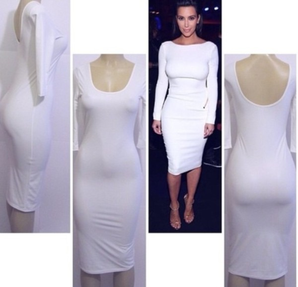 dress kim kardashian white bodycon midi dress