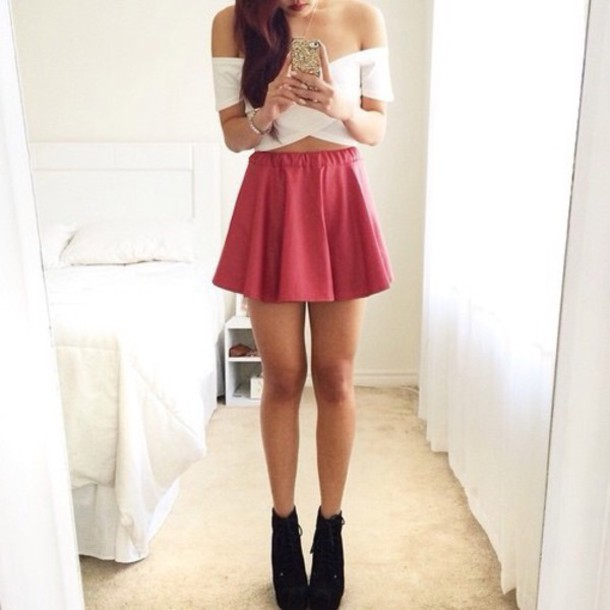 0e86aadcec3c09 skirt, pink, coral, skater, summer, summer skirt, white, cropped ...