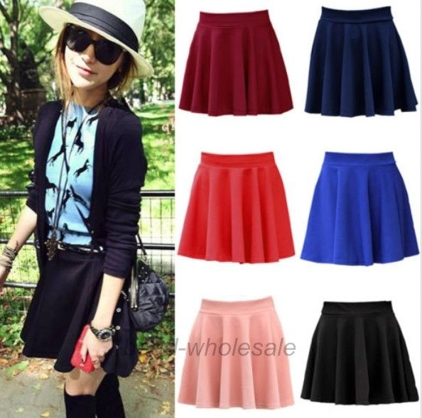 Latest Womens Girls Stretch Waist Pleated Jersey Plain Skater Flared Mini Skirt