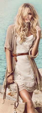 dress,lace,designer,creme,boho,boho chick,summer dress,belted,lovely,vintage,beach,style,stylish,vintage-inspired,cardigan,boho chic,neutral colors