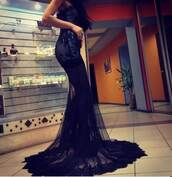 dress,black,prom,beautiful,lace,train,sheer