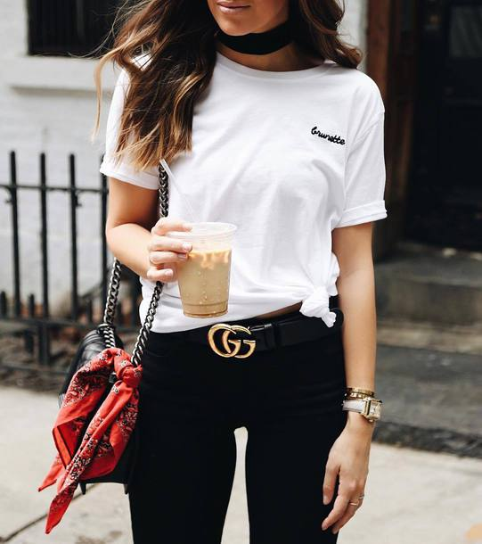 87d50ba04a76 t-shirt tumblr white t-shirt embroidered denim jeans black jeans belt logo  belt