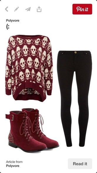 sweater skull red winter outfits jeans shoes