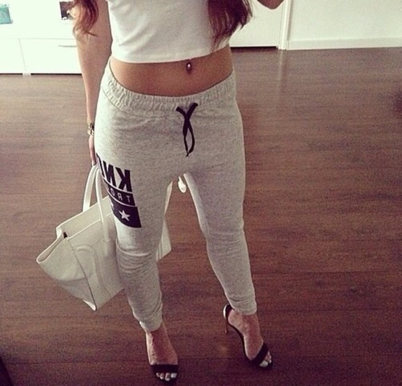 pants sportswear relax lazy day tight joggers sweatpants grey
