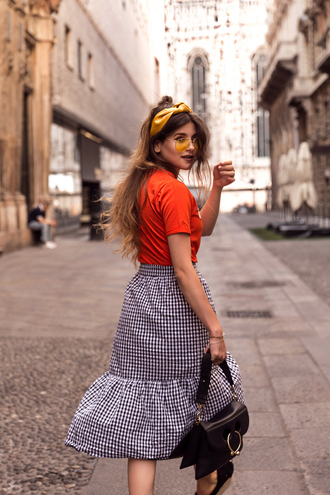 skirt tumblr sunglasses yellow sunglasses midi skirt gingham t-shirt red t-shirt bag black bag summer outfits headband gingham skirt wrap ruffle skirt