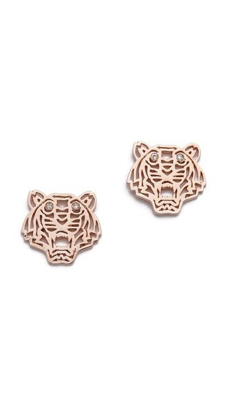 mini tiger earrings gold pink jewels