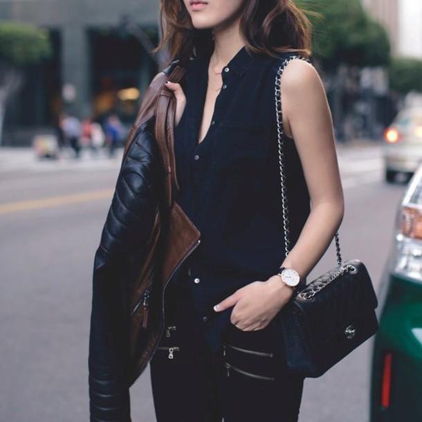 jacket brown leather jacket with black sleeves