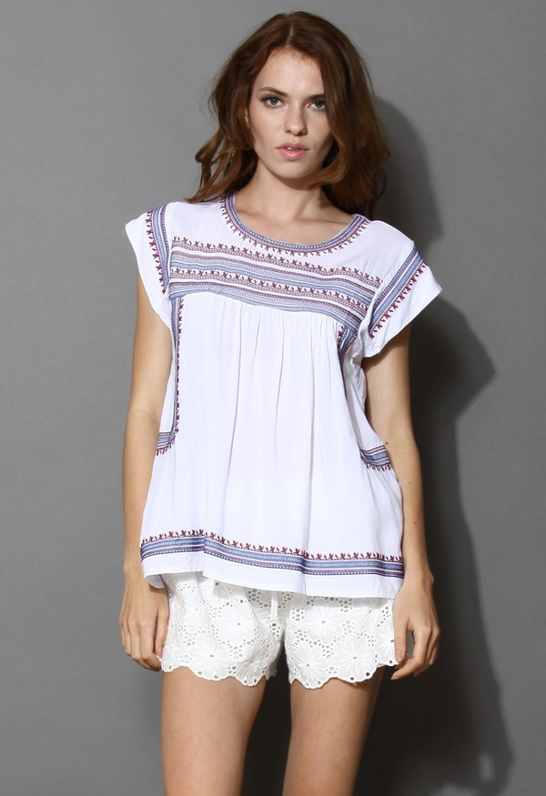 top chicwish tribal pattern boho embroidered