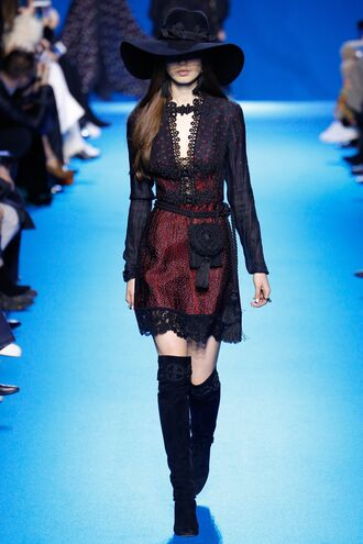 dress hat boots elie saab fashion week 2016 paris fashion week 2016 model runway fall outfits lace dress