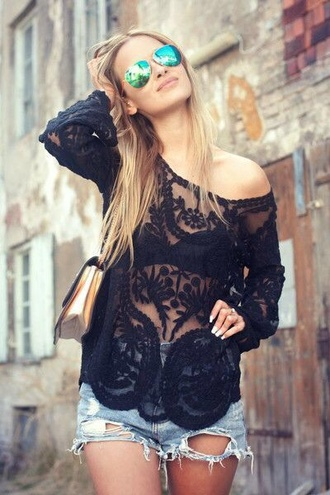 t-shirt shorts see through blouse black lace black lace black blouse lace blouse black shirt lace shirt shirt top