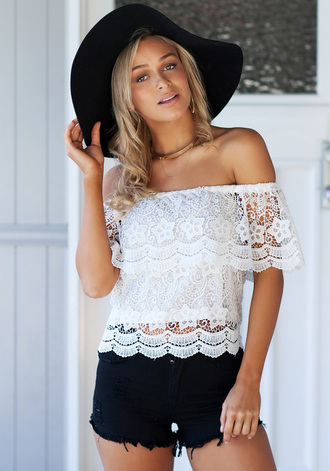 blouse white blouse cute top lookbook store lace top lace spring off the shoulder