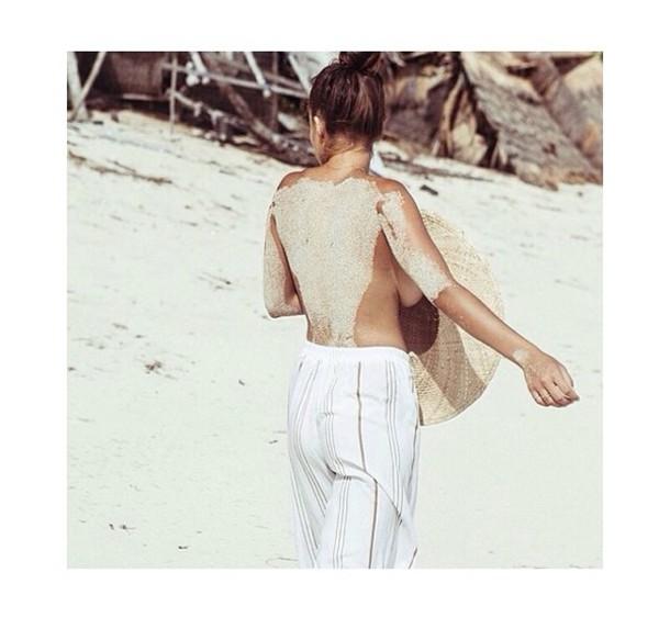 pants white girl beach