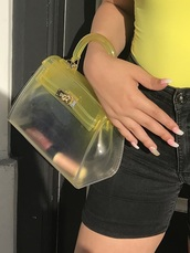 bag,jellies,cute,yellow,ombre
