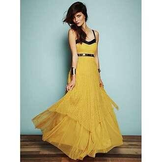 dress thin straps empire waist long dress yellow yellow dress other colours chiffon black border