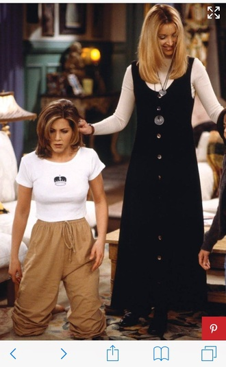 pants lounge pants tan friends tv show blouse rachel green