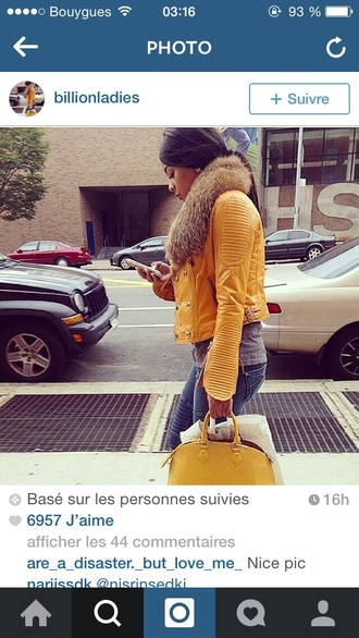 jacket yellow jacket fourrure cuir similicuir coat