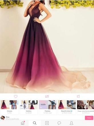 dress pink pretty long prom dress purple