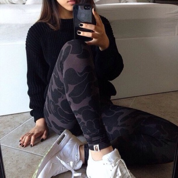 leggings pattern black leggings