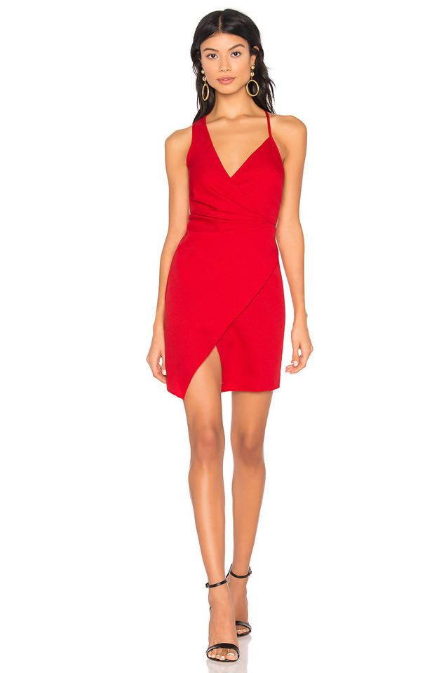 by the way. Karina Asymmetric Mini Dress in red